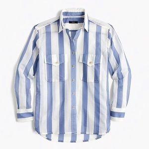 J Crew Striped Cotton and Silk Button up shirt